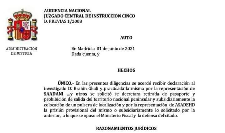 """القاضي الإسباني بيدراز يرفض اتخاذ أي إجراء ضد زعيم عصابة البوليساريو""""غالي"""""""